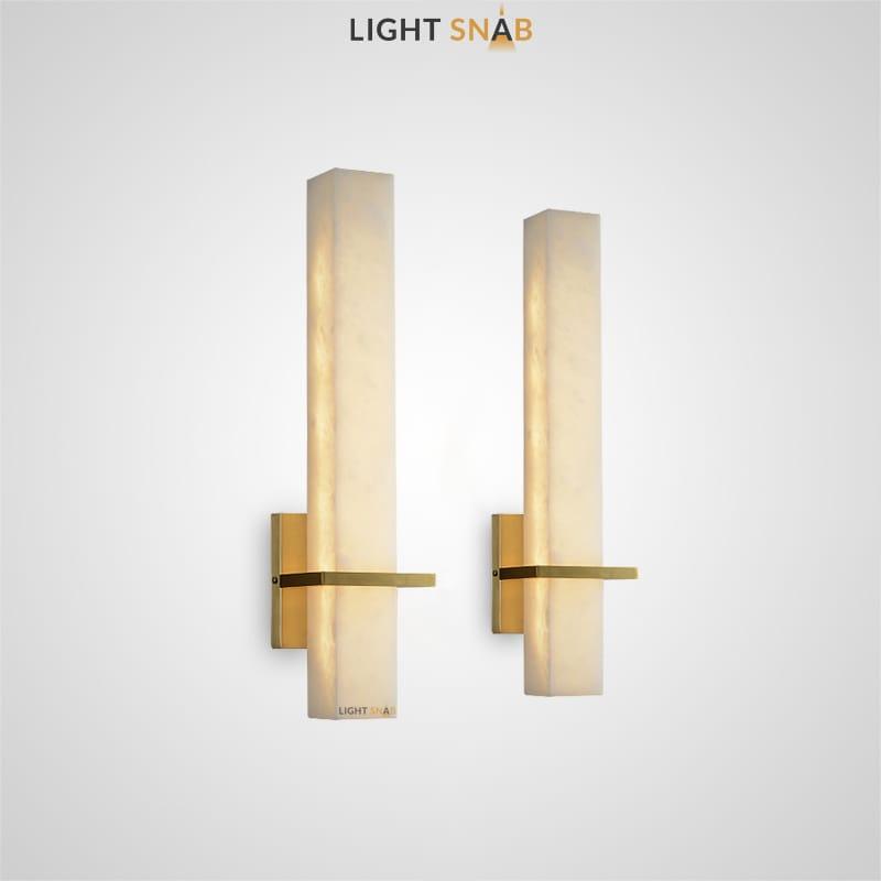 Настенный светодиодный светильник Glee B с прямоугольным плафоном из испанского мрамора в металлическом держателе