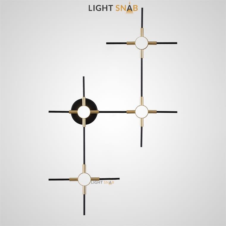 Настенный светильник Instant Wall в виде комбинации стержней со светодиодными источниками на пересечениях