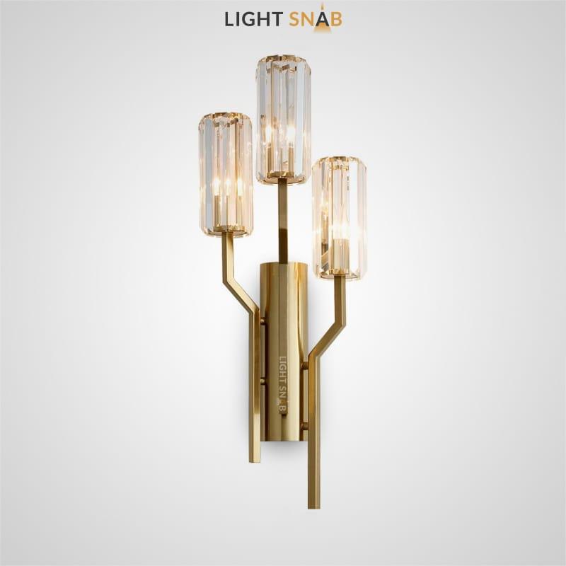 Настенный светильник Irlin Trio с тремя цилиндрическими плафонами из граненого хрусталя