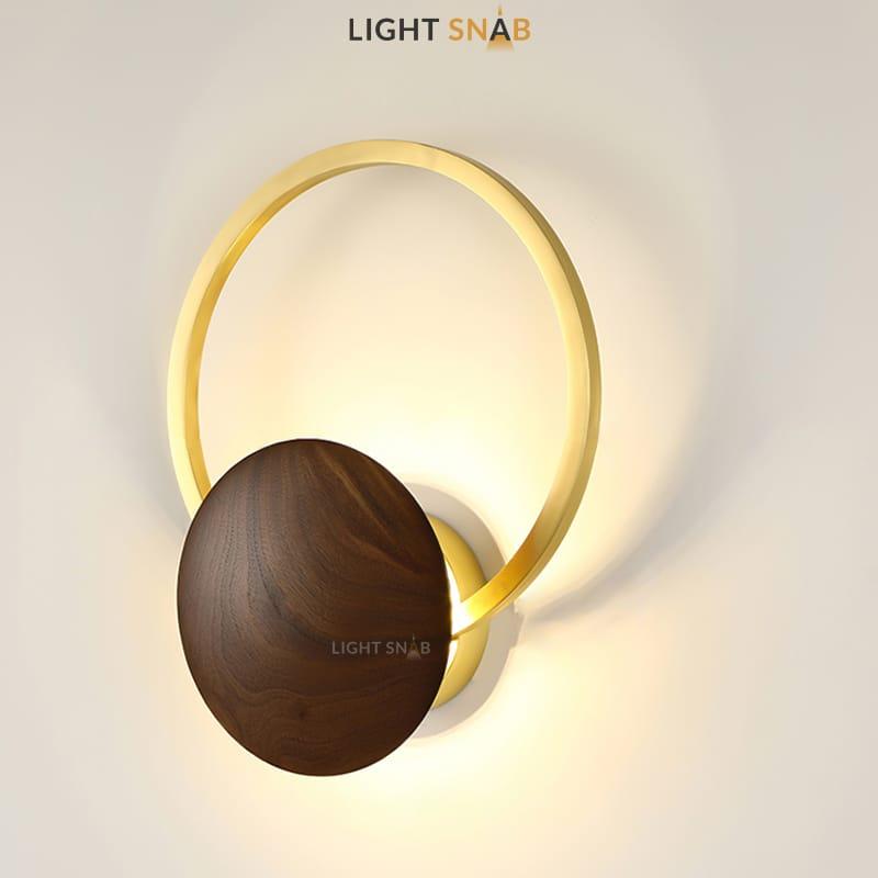 Бра Issi в форме деревянного диска с декоративным кольцевым элементом