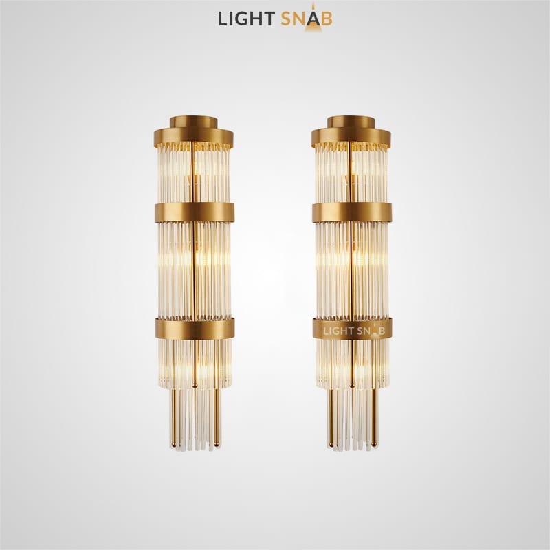Настенный светодиодный светильник Jannet с цилиндрическим плафоном из тонких кристальных трубочек на каркасе из металлических колец