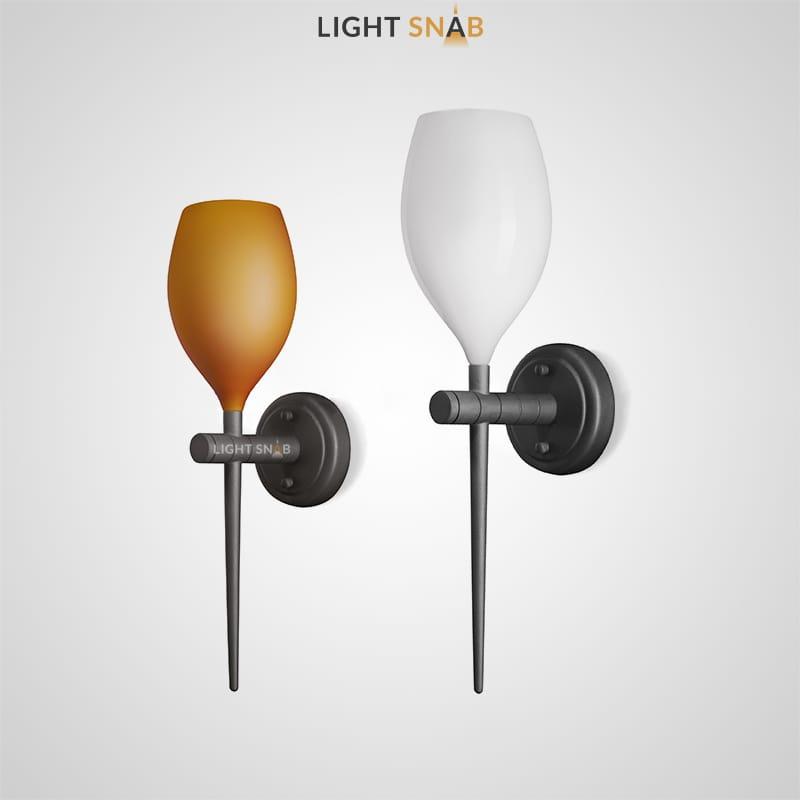 Настенный светильник Kai Wall со стеклянным плафоном обтекаемой формы и удлиненным хвостовиком