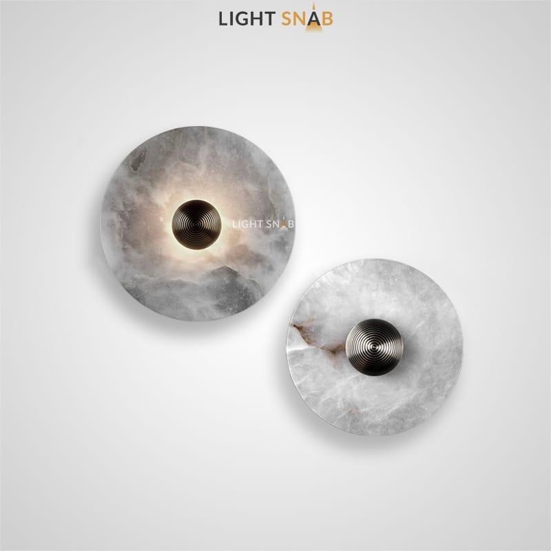 Настенный светодиодный светильник Leia с круглым плафоном из мрамора и металлическим центром