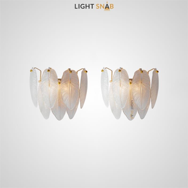 Настенный светодиодный светильник Loreley Wall с абажуром в виде композиции из стеклянных перьев