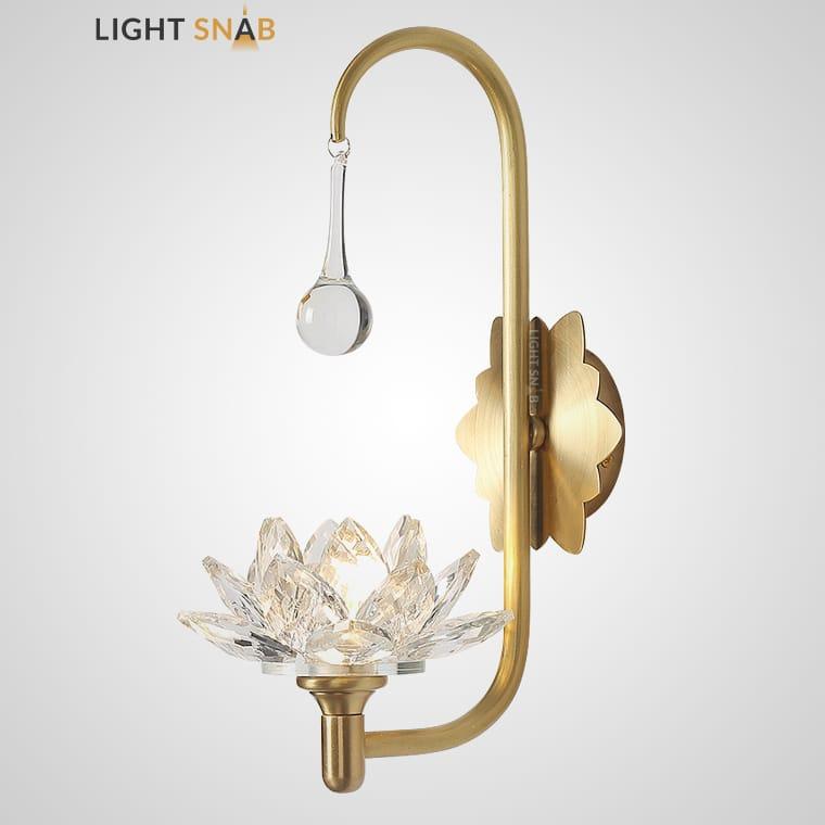 Дизайнерское бра Lotos Wall Drop в виде цветка из стеклянных кристаллов
