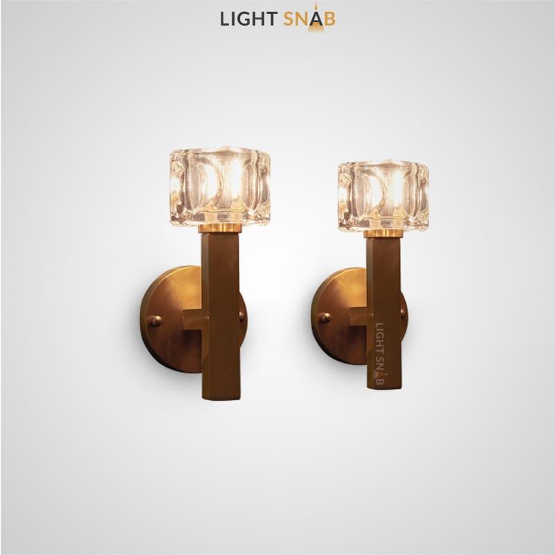 Настенный светильник Maura с хрустальными плафонами кубической формы