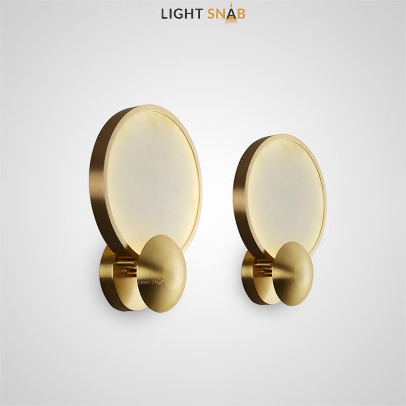 Настенный светодиодный светильник Miami с мраморным плафоном в форме диска с двойным круглым креплением латунного оттенка