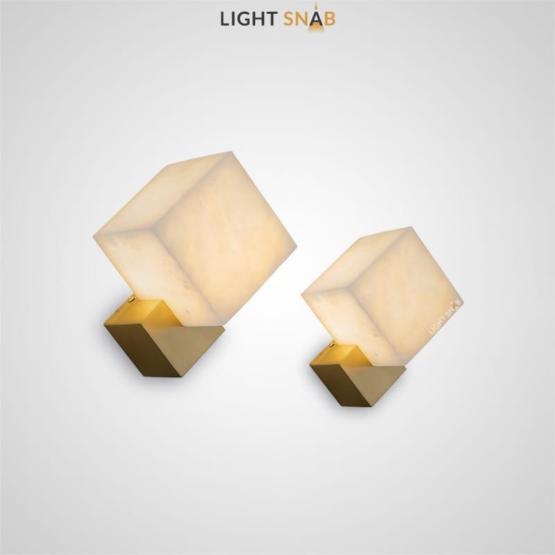 Светодиодный настенный светильник Obscur с мраморным плафоном кубической формы