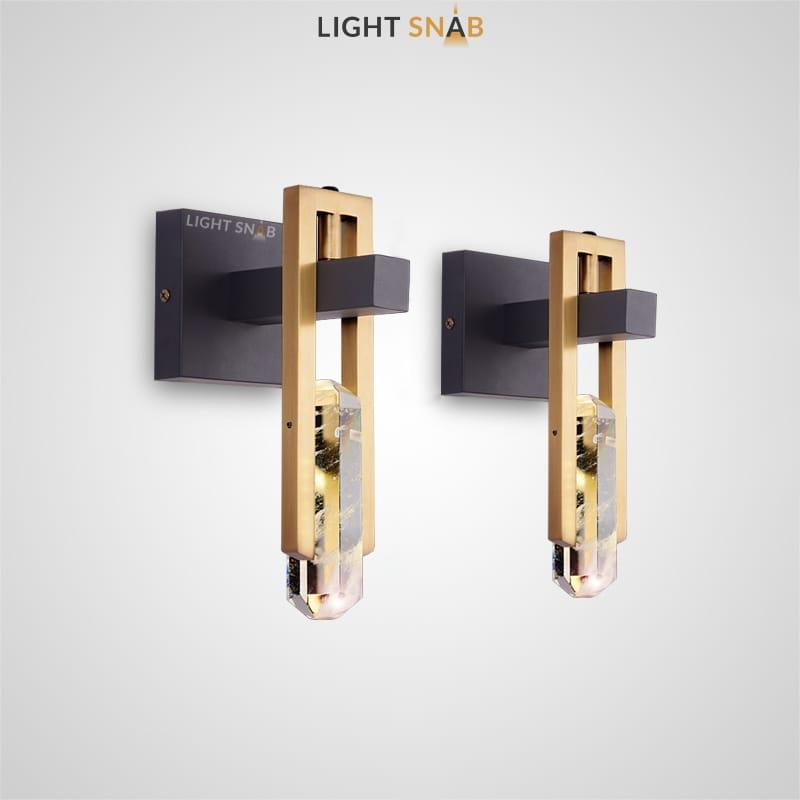 Настенный светодиодный светильник Odelia Wall с плафоном в виде хрустального камня в металлической рамке