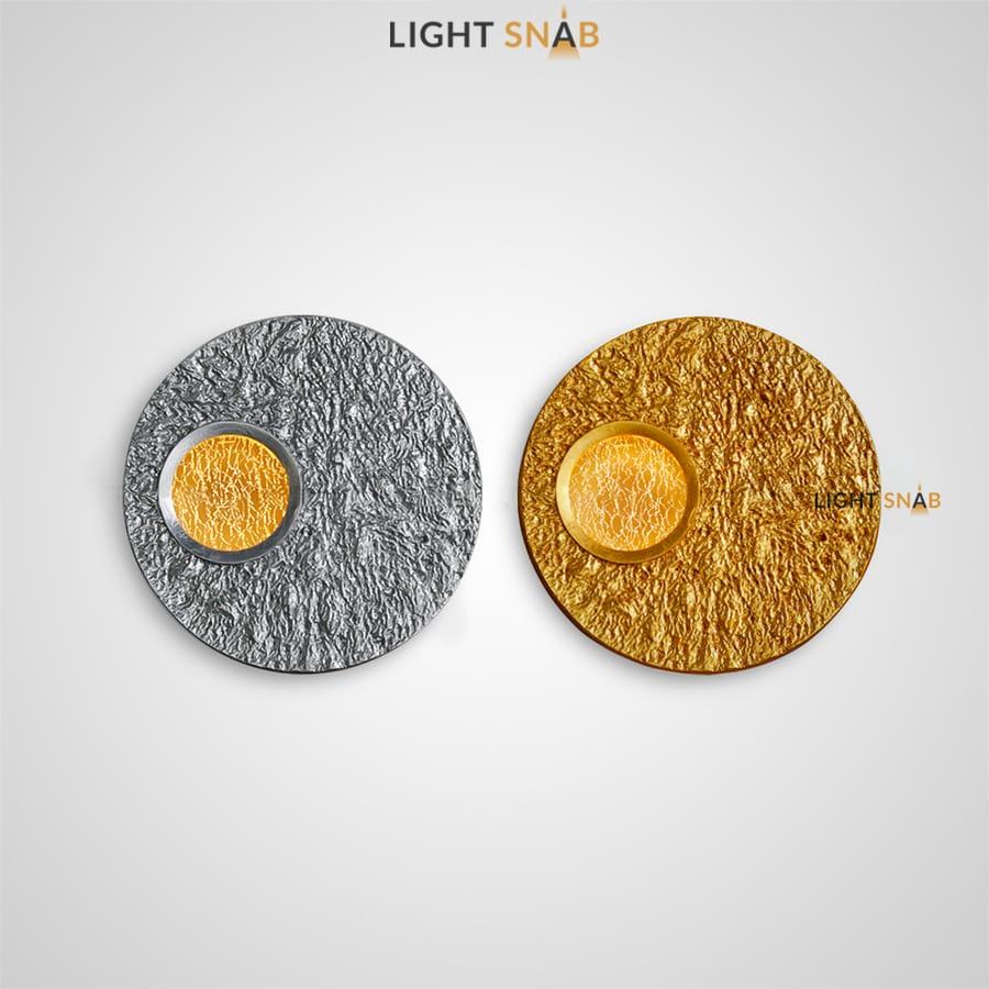 Настенный светильник Oona в виде диска с нанесением фольги и сусального золота и светящимся окошком из акрила