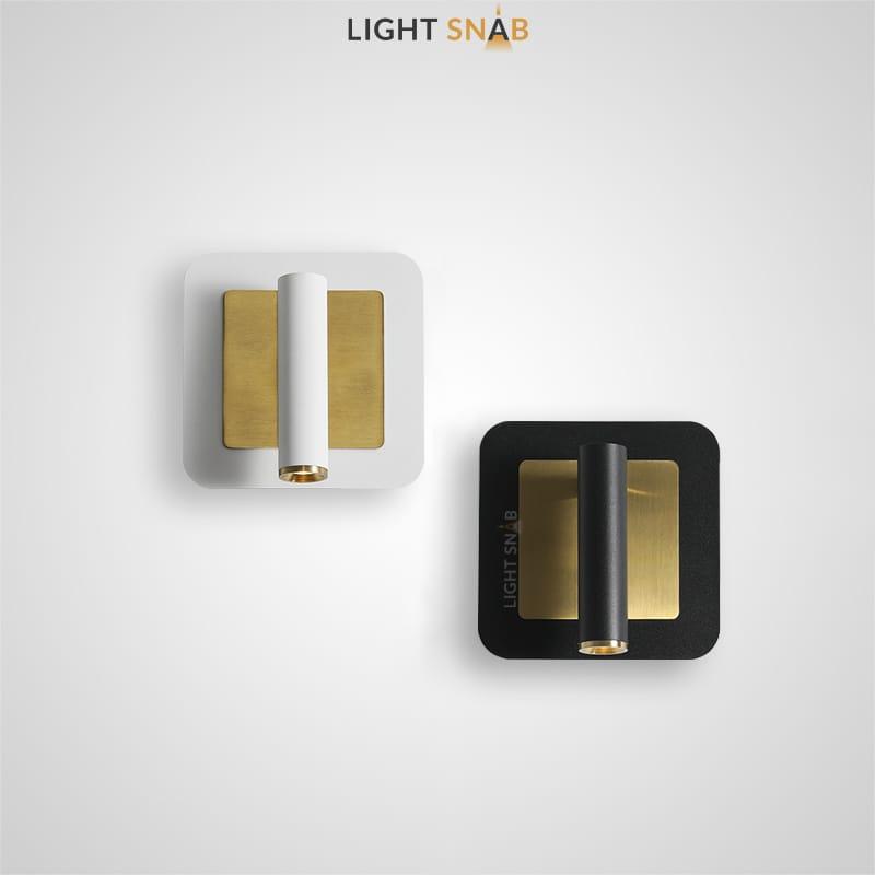 Настенный светодиодный светильник Rapid Wall B с поворотным цилиндрическим плафоном на прямоугольном основании с металлическим центром латунного оттенка