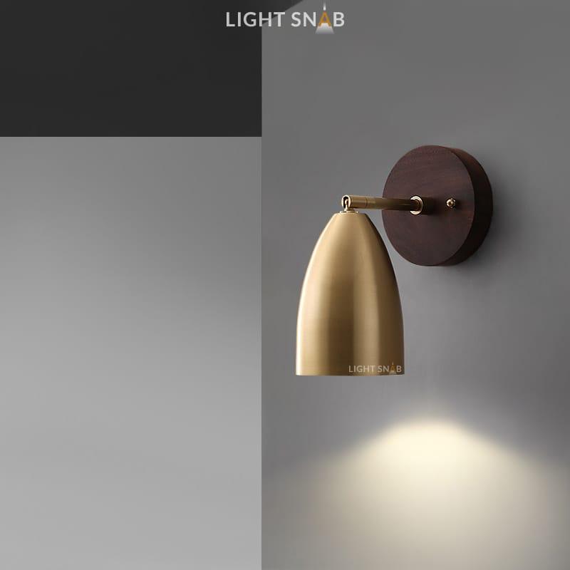 Настенный светодиодный светильник Rense 1 лампа. Цвет латунь. Теплый свет