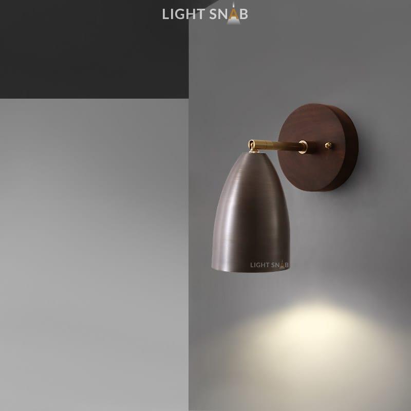 Настенный светодиодный светильник Rense 1 лампа. Цвет орех. Теплый свет