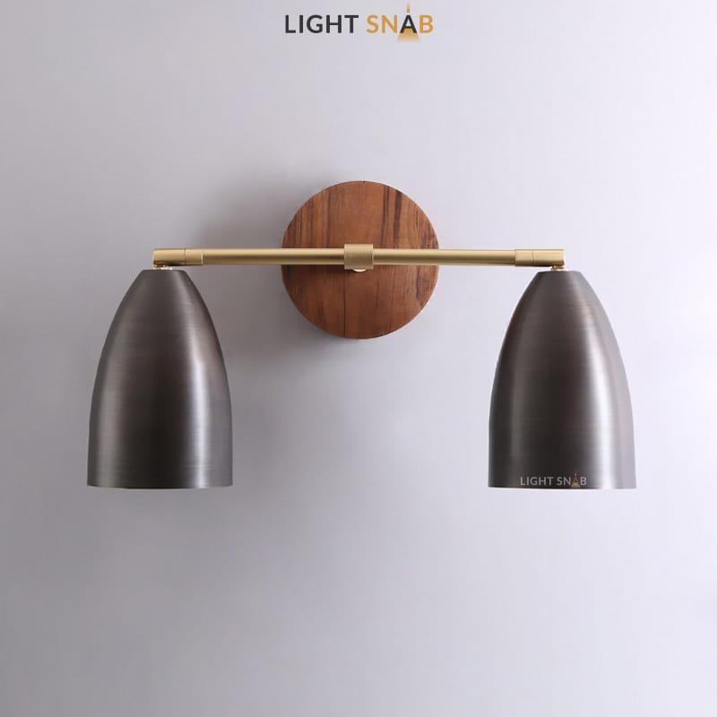 Настенный светодиодный светильник Rense 2 лампы. Цвет орех. Трехцветный свет