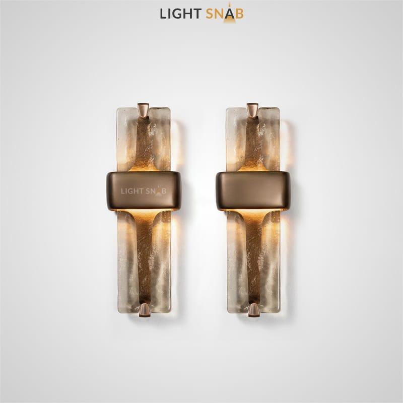 Настенный светодиодный светильник Rhyme с кристальным плафоном прямоугольной формы и матовым креплением