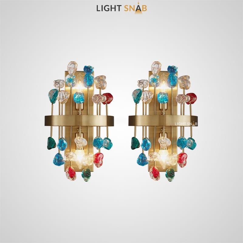 Настенный светильник Rufina с декоративными стеклянными камнями кубической, шарообразной и неправильной формы