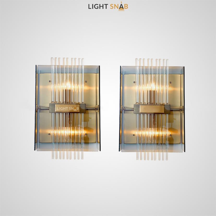 Настенный светильник Sella Wall с плафоном из тонких стеклянных трубочек внутри прямоугольного каркаса из стекла