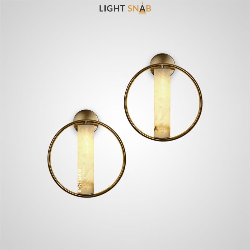 Настенный светодиодный светильник Sevia с цилиндрическим плафоном из мрамора в металлическом кольце