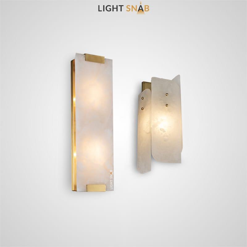 Настенный светильник Slipa с плафонами из мраморных пластин прямоугольный формы