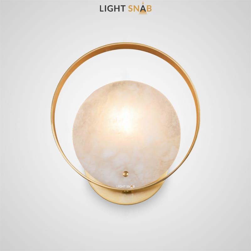 Настенный светодиодный светильник Sommar с круглым рассеивателем из мрамора в металлическом кольце