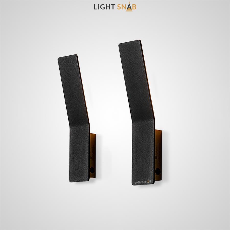 Настенный светодиодный светильник Song в виде черной стойки с матовым покрытием