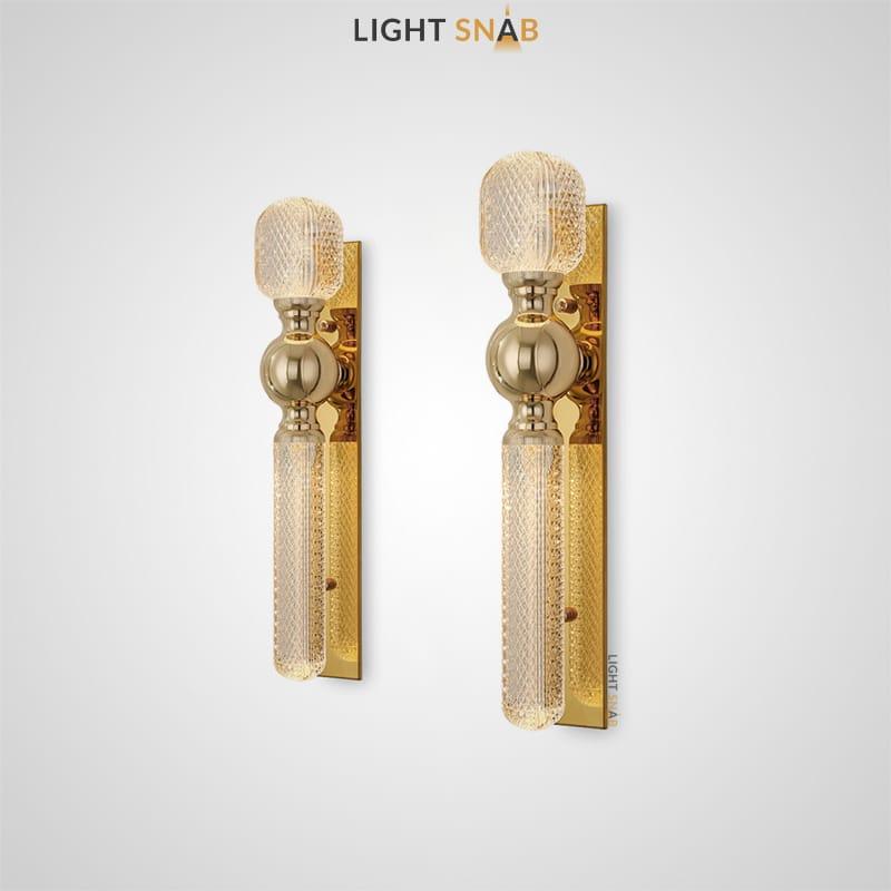Настенный светильник Tara Wall трубчатый с фактурной поверхностью из стекла и металлическим креплением