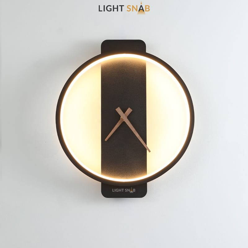 Настенный светильник-часы Time модель A (кольцо) цвет черный