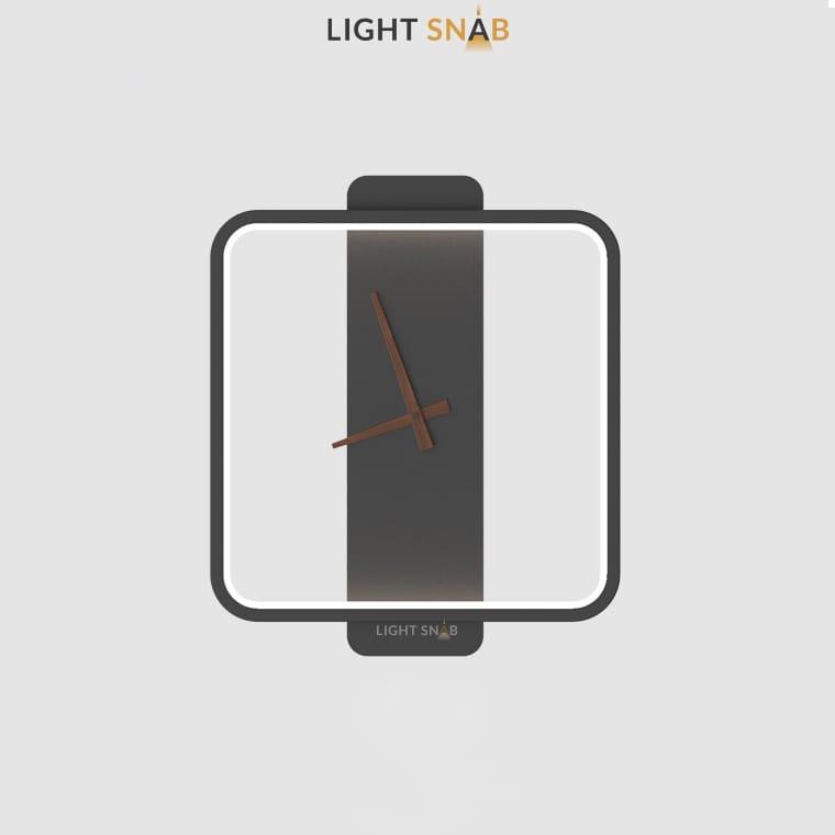 Настенный светильник-часы Time модель B (квадрат) цвет черный