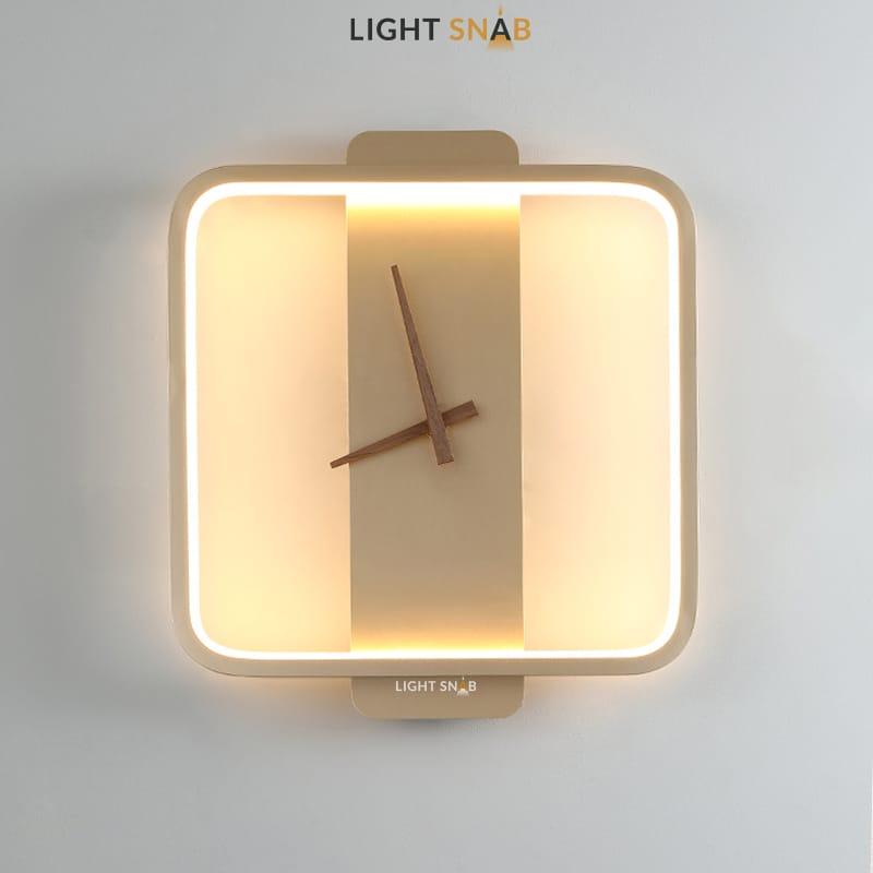 Настенный светильник-часы Time модель B (квадрат) цвет золото