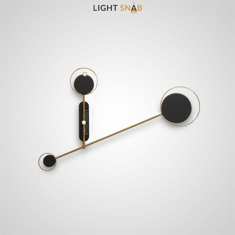 Светодиодная настенная лампа Tint Trio с плафонами в виде дисков разного диаметра внутри золотых колец