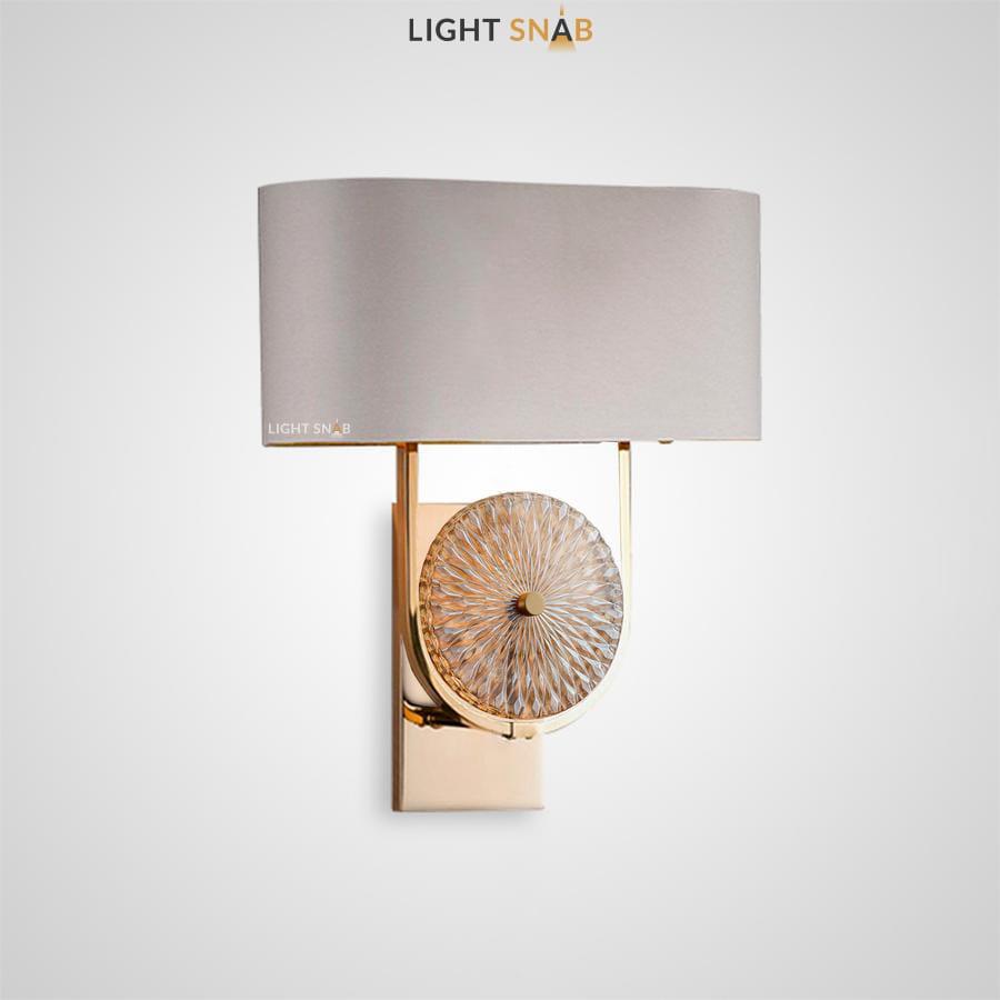 Настенный светильник Vaila с текстильным плафоном прямоугольной формы и декором в виде узорчатого диска из стекла