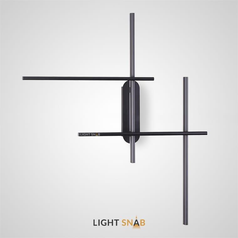 Настенный светильник Vetur Wall в виде пересекающихся черных стержней со светодиодной подсветкой