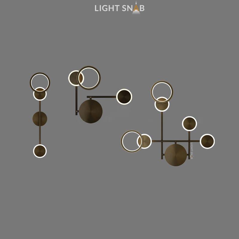 Настенный светодиодный светильник Zingy в виде композиции из светящихся дисков и колец