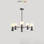 Люстра Abelina 12 ламп. Цвет черный + белый
