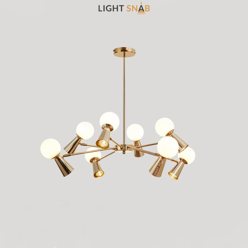 Люстра Abelina 16 ламп. Цвет золото + белый