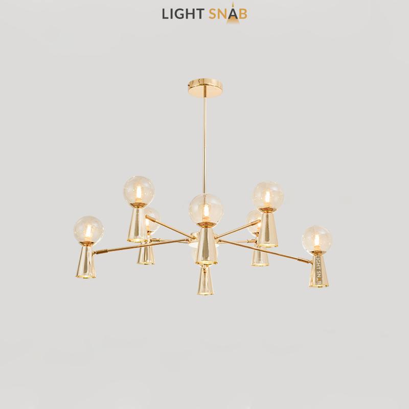 Люстра Abelina 16 ламп. Цвет золото + янтарь
