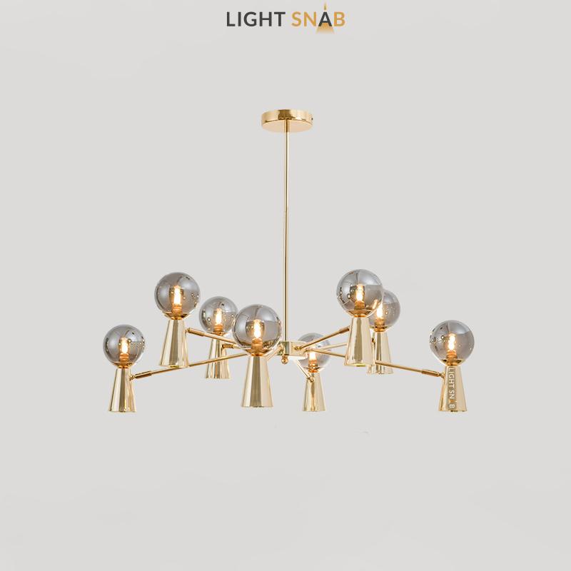 Люстра Abelina 16 ламп. Цвет золото + дымчатый