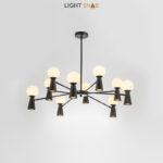 Люстра Abelina 20 ламп. Цвет черный + белый
