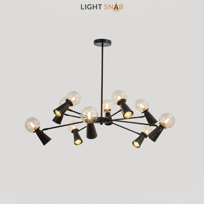 Люстра Abelina 20 ламп. Цвет черный + янтарь