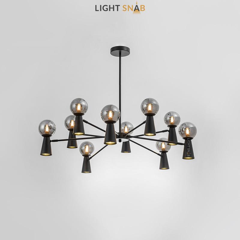 Люстра Abelina 20 ламп. Цвет черный + дымчатый