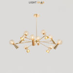 Люстра Abelina 20 ламп. Цвет золото + янтарь