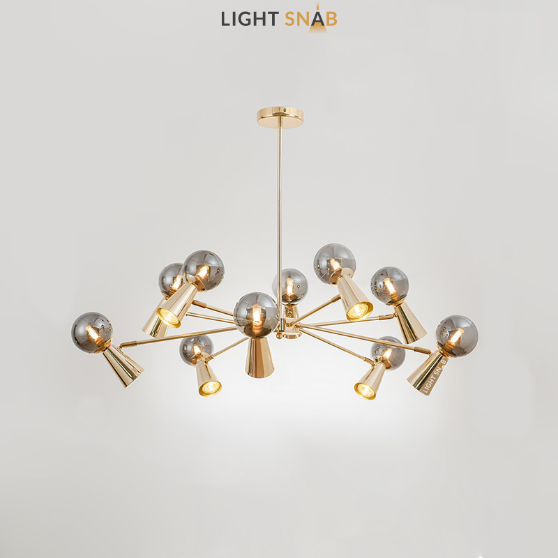 Люстра Abelina 20 ламп. Цвет золото + дымчатый