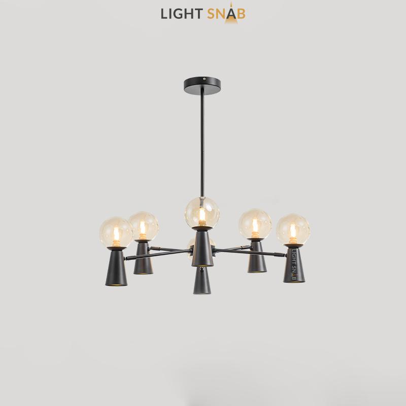 Люстра Abelina 12 ламп. Цвет черный + янтарь
