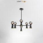 Люстра Abelina 12 ламп. Цвет черный + дымчатый