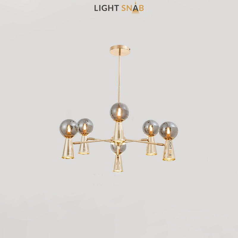 Люстра Abelina 12 ламп. Цвет золото + дымчатый