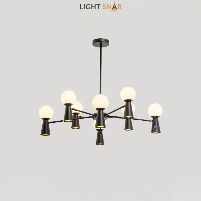 Люстра Abelina 16 ламп. Цвет черный + белый