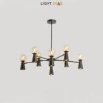 Люстра Abelina 16 ламп. Цвет черный + янтарь