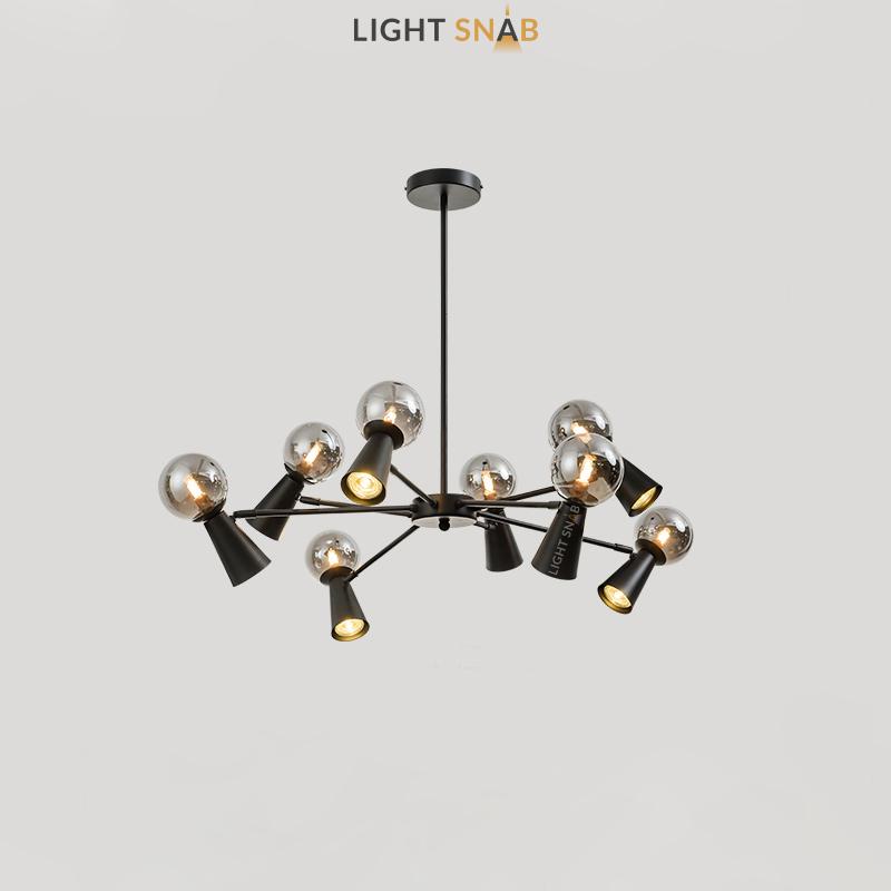 Люстра Abelina 16 ламп. Цвет черный + дымчатый