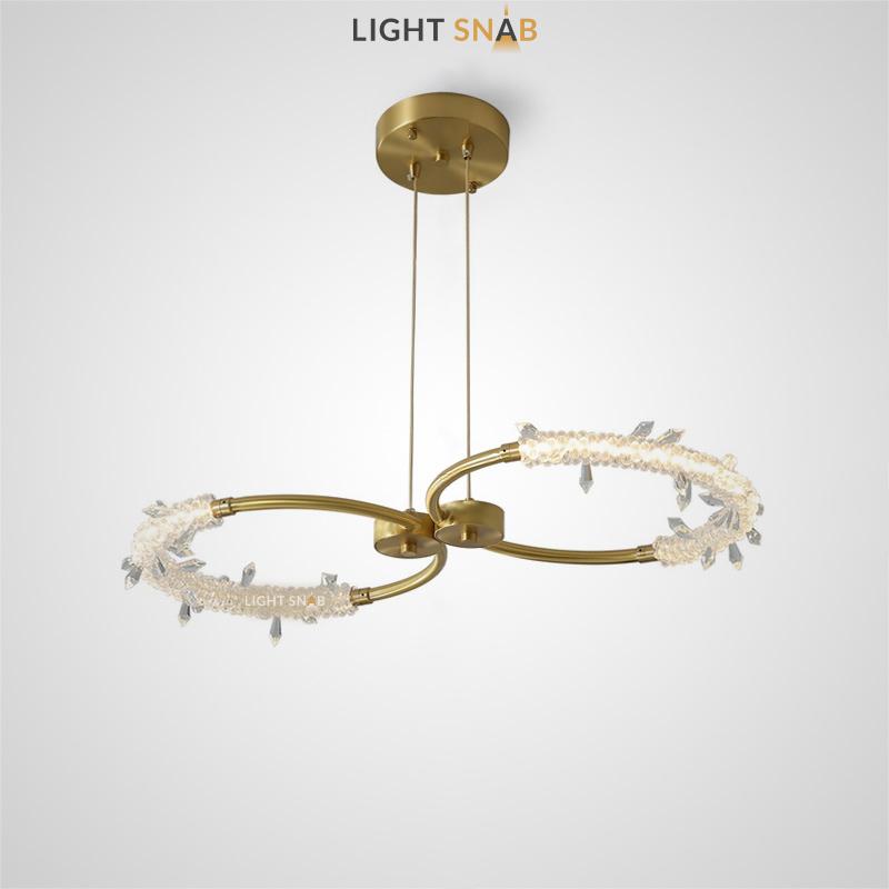 Подвесной светильник Acosta Duo c двумя латунными кольцами и декором в виде хрустальных кристаллов
