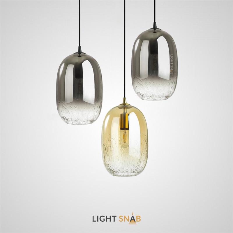 Подвесной светильник Aevg One из цветного стекла с природным декором в виде множества пузырьков воздуха